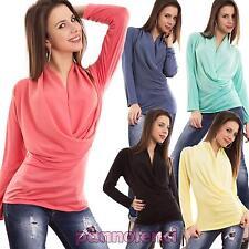 Maglia donna maglietta scollo V morbido sottogiacca manica lunga nuova AS-1500-1