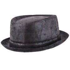 Maz Black Vintage Leather Distressed cracked Pork pie Hat. fast post 24-48 hours