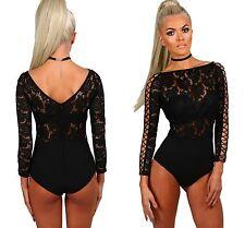 Femmes dentelle noire treillis manchon Bodysuit corsage JUSTAUCORPS partie supérieure taille 8 10 12