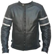 Rksports Mens 747 hoody biker Leather Motorcycle Armoured  Jacket