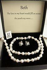 Freshwater Pearl Necklace Bracelet Sterling Silver Beads Clasp & Stud Earrings.