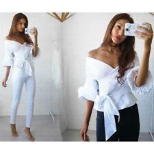 Women Bandage Tunic T-Shirt Casual Tops Blouse Long Sleeve Loose Shirt JO