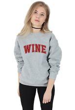 Wine Sweater Top Jumper Sweatshirt Funny Uni College Varsity Drinking Team Squad