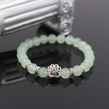 Dog Paw Print Charm Natural Green Quartz 6MM Bead Stretch Bracelet Keepsake