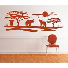 Landschaft Wandtattoo  Elefanten Afrika Sonne Savanne Baum Safari Wandaufkleber