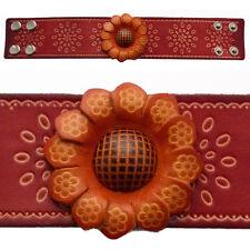 bracelet cuir femme vrai cuir réglable fleur large original orange ou rouge