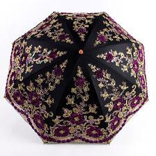 Double Lace Embroidery Sun Umbrella Sunscreen Anti-UV Female Princess Parasols