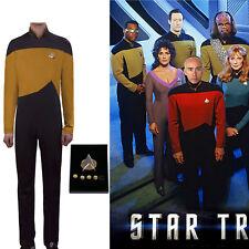 Star Trek TNG Jumpsuit Uniform Cosplay The Next Generation Yellow Uniform Badge