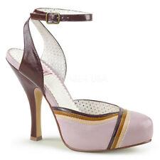 "PINUP 4 1/2"" Heel Lilac Tri Color Ankle Strap Open Back Retro Women Sandal Shoes"