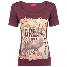 hangOwear Damen Trachten Shirt Ausbrenner T-Shirt Top mit Pailletten Goldoptik