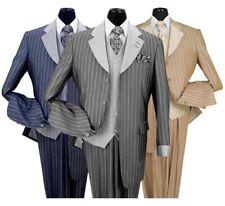 Men's Luxurious Wool Feel High Fashion Stripes Four Button Suit w/ Vest #2911