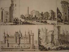 Gravure Différents Châteaux   Règne de PHILIPPE AUGUSTE