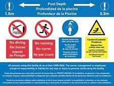 Segno Multi lingua inglese, francese e spagnolo Piscina Regole segno
