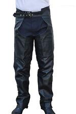 Men Women Braided Motorcycle Biker Cowhide Leather Chaps Pants Black MC3