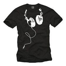 DJ T-Shirt auriculares fiesta House electro techno música hombres señores regalo