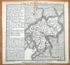 WESTMORELAND, CUMBRIA, BADESLADE & TOMS original miniature antique map 1741