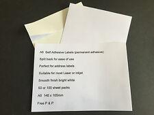 A6 WHITE  SELF ADHESIVE PAPER Split Back, Blank Labels, Parcel Labels Free P&P