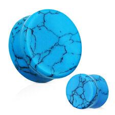 PAIR of Turquoise Stone Saddle Organic EAR Gauges PLUGS Rings Piercing Jewelry