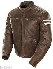 Custom Tailor Made Distressed Leather Jacket Biker Oil Pull Moto White Stripes