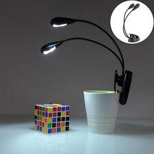 Flexible 4 LED Dual Arm Clip-on Reading Study Laptop Light Table book Lamp  OZ