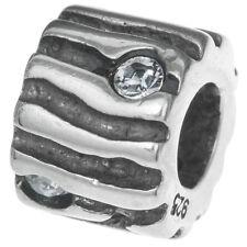 Sterling Silver Wood Tree Grain Clear Crystal Bead For European Charm Bracelets