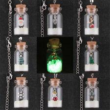 Christmas Glow in the dark Luminous Pendant Necklace Glass Wishing Bottle Xmas