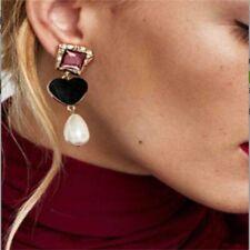 Women Statement Simulated Pearl Earrings Heart Shape Ear Drops Dangle Earrings