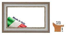 Cornice in legno Bianca con rigo Oro per foto,stampe,dipinti - Spes.Front.cm 2,5