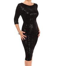 Black Sequin Velour Bodycon Dress - Knee Length