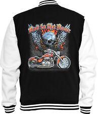 Biker Sweat College Jacke Bad to the Bone 2 Skull Bike Racing USA