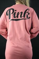Victoria's Secret Love PINK Crew Logo Tee Long Sleeve Pocket 100% Cotton Top