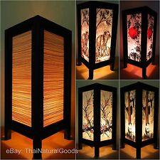 Asian Bamboo Zen Art Bedside Lamps, Wood Shades, Table Lamps, Night Lights UK