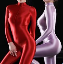 Women Sexy Bodysuit Shiny Swimsuit Leotard 2-Way Zipper Jumpsuit Clubwear