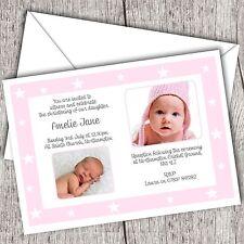 Personalised Photo Invitations • Christening ~ Baptism • Girl (Star Frame)