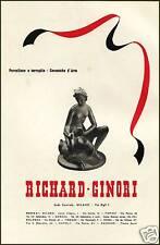 PUBBLICITA' 1940 RICHARD GINORI STATUA ARTE  PORCELLANA  NUDO CERAMICA TERRAGLIE