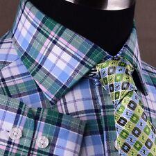 Green Plaids & Checks Formal Business Dress Shirt Luxury Plaids Egyptian Cotton