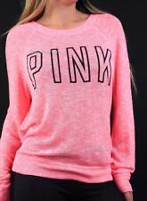 Victoria's Secret PINK Lightweight Knit Crew Logo Sweater Neon Heather