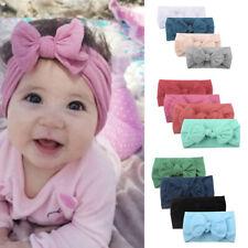 4PCS Girls Baby Toddler Turban Solid Headband Hair Band Bow Accessories Headwear