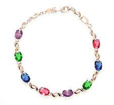 BRACCIALE donna tennis argento acciaio cristalli rosa azzurro verde viola Z14