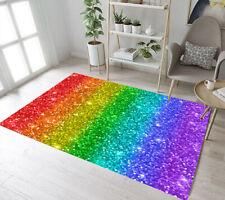 Multicolored Rainbow Glitter Pattern Area Rugs Bedroom Living Room Floor Mat Rug