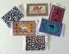 Teppich Mini Puppenstube Tier Tiger Elefant  Kamel Pferd Miniatur 1:12 9x5cm Neu