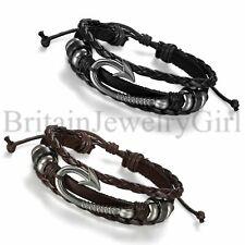 Vintage Metal Fishing Hook Stud Multi-layer Leather Men Women Bracelet Cuff