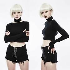 Punk Rave Zipper shorts Black Denim Jeans hot pants con flecos y o-ring ZIP