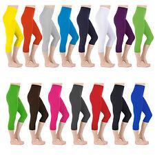 Womens Summer Cropped 3/4 Leggings Capri Length Stretchy Pants