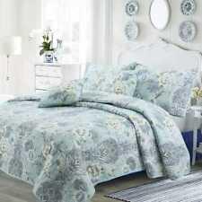 Queen King 3 Piece Reversible 100% Cotton Floral Quilt Set Shams Garden Bedding