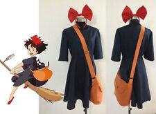 Kiki's Delivery Service Kiki black Uniform dress Cosplay Costume+Bag+Hairband