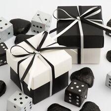 Blanco Y Negro Seda Cuadrado Cajas & Tapas De Lujo Detalle Boda Fiesta Caramelo