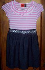 Sz 3 & 6 Stretch cotton DRESS with Striped top Denim-look skirt Tie back BNWT