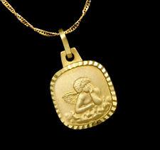 ECHT GOLD ***  4eck Anhänger Engel Schutzengel Gravurplatte, optional mit Kette