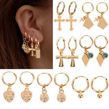 Heart/Cross Women 18K Gold Filled Hoop Earrings Dangle Drop Cartilage Ear Studs